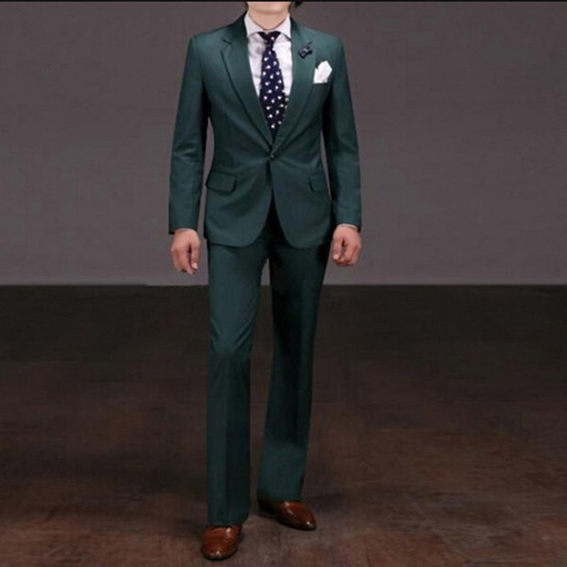 Notch Lapel Groom Tuxedo dark green <font><b>Mens</b></font> <font><b>Wedding</b></font> <font><b>Suits</b></font> <font><b>2018</b></font> Best <font><b>terno</b></font> slim fit 2 pieces <font><b>Men</b></font> <font><b>terno</b></font> masculino <font><b>suit</b></font> (Jacket+Pants) image