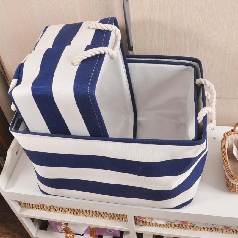 ZAKKA Estilo Azul marino Raya Lavado de ropa Lavandería Lienzo Tela - Organización y almacenamiento en la casa - foto 3