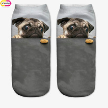 3D Print pug Animal women Socks Casual cartoon Socks Unisex Low Cut Ankle Socks