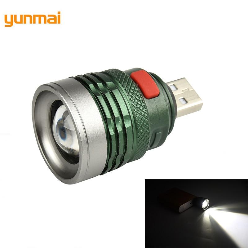Yunmai Mini Usb LED Flashlight Cree Q5 Aluminum Work Light 2000LM Waterproof Lanterna 3 Modes Portable LED Torch Lamp M28