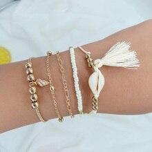 5 Pcs Womens Alloy Beach Party Jewelry Fashion Fringed Bracelet Tassel Pendant Chain Set Beautiful Accessories New
