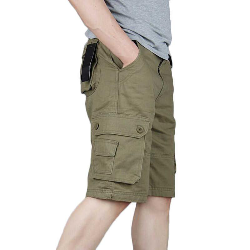 Verano Casual pantalones cortos hombres Multi-pantalones cortos de bolsillo Masculino hombres pantalón Militar General pantalones cortos tamaño 29-46 pantalones de chándal