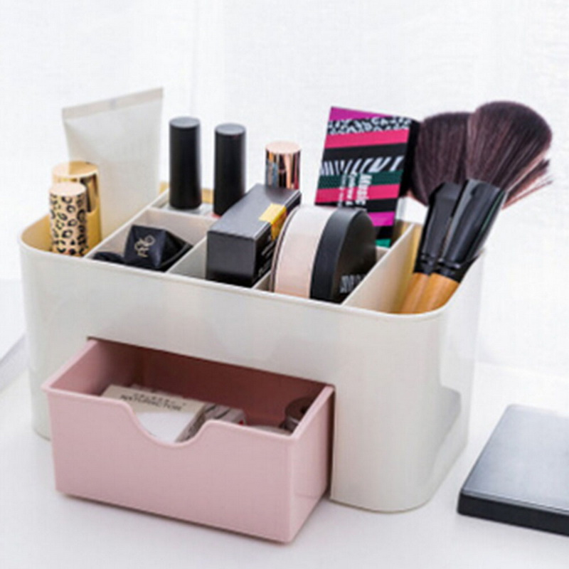 Junejour Plastic Makeup Organizer Storage Boxes Make Up Organizer Cosmetics Storage Container HolderJewelry Sundries Box Home(China)