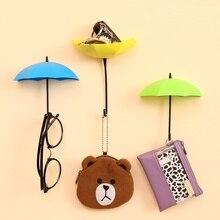 6pcs/set Creative Colorful Key Hanger Rack Bathroom Seamless Wall Decorative Umbrella Shaped Accessories Holder Tools
