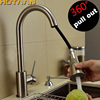 16 Pull Out Swivel Solid Brass Nickel Brushed Vessel Basin Mixer Brass Tap Kitchen Faucet Torneira