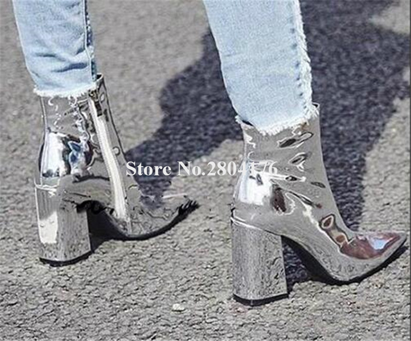 Women Sexy Pointed Toe Silver Gold Patent Leather Chunky Heel Short Boots Zipper-up Mirrow Thick Heel Ankle BootiesWomen Sexy Pointed Toe Silver Gold Patent Leather Chunky Heel Short Boots Zipper-up Mirrow Thick Heel Ankle Booties