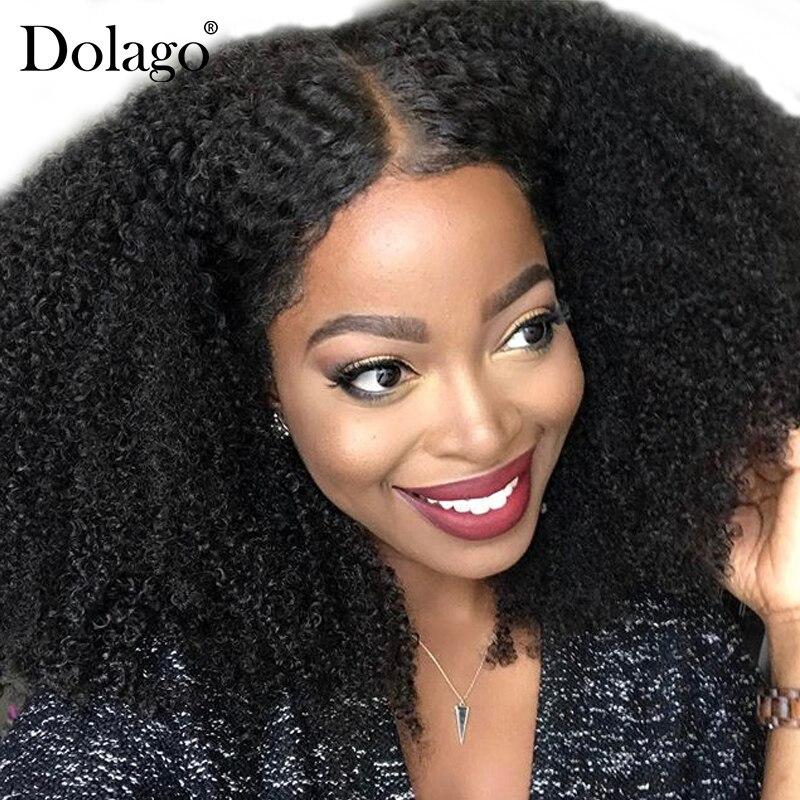 Afro Crespo Peruca Encaracolado 250% Densidade Glueless Cheia Do Laço Perucas de Cabelo Humano Para As Mulheres Peruca Longa Brasileiro Natural Preto Remy cabelo Dolago