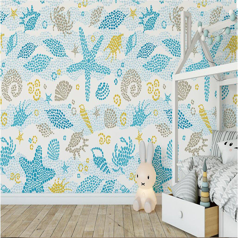 Custom HD Photo Wallpaper Children Blue Starfish 3D Wall Murals for Living Room Bedroom TV Background Wall Paper 3D Wall Murals custom photo wallpaper 3d wall murals balloon shell seagull wallpapers landscape murals wall paper for living room 3d wall mural