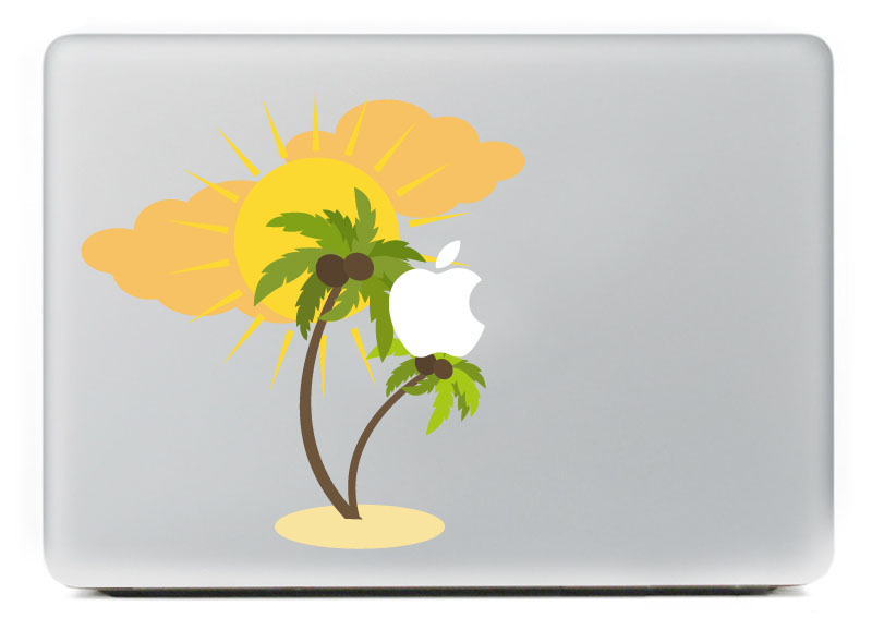Coconut trees under the sun Vinyl Decal Sticker for DIY Macbook Pro / Air 11 13 15 Inch Laptop Case Cover Sticker
