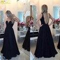 Vestidos De Coctel A-Line Sexy Black Prom Dress Sheer Back Floor Length Chiffon Prom Gown 2016 Women Dresses