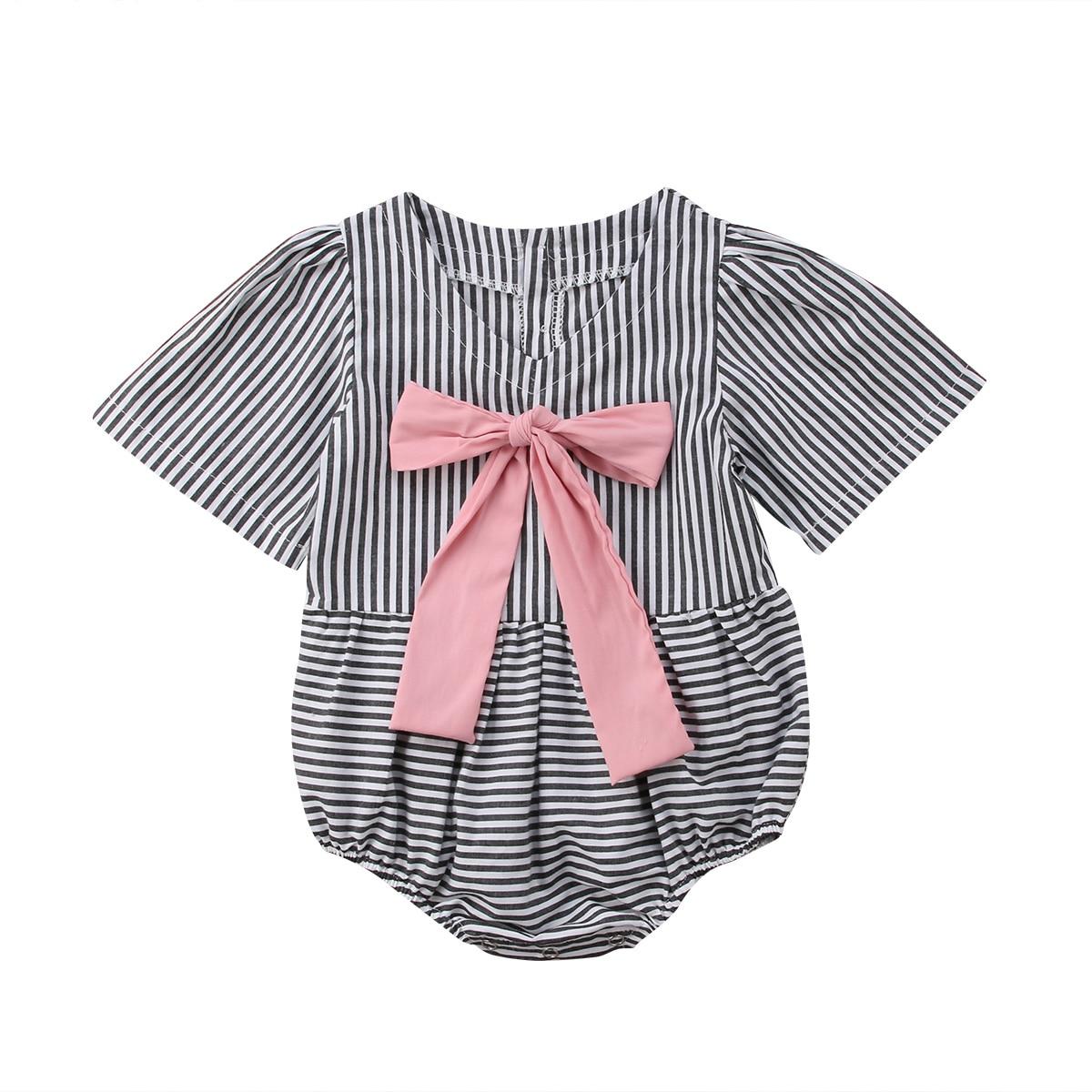 2018 платье для маленьких девочек боди черные и белые в полоску боди комбинезон модная симпатичная одежда наряд 0-24 м