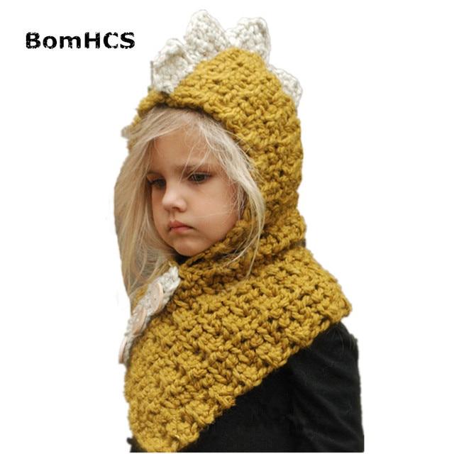 9ca2ccb88 US $12.98 |BomHCS Hat Scarf Set Autumn Winter Kids Warm Handmade Knit  Beanie Cartoon Animal Dinosaur Cap (for head 45 50cm)-in Skullies & Beanies  from ...