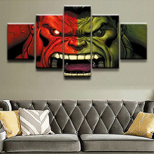 Top-Rated Canvas Print Modular Pictures 5 Pieces Comics Hulk Poster Paintings Home Decorative Wall Art Framework Decor Boys Room(China)