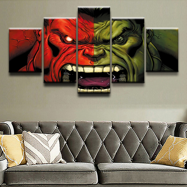 Top-Rated Canvas Print Modular Pictures 5 Pieces Comics Hulk Poster Paintings Home Decorative Wall Art Framework Decor Boys Room