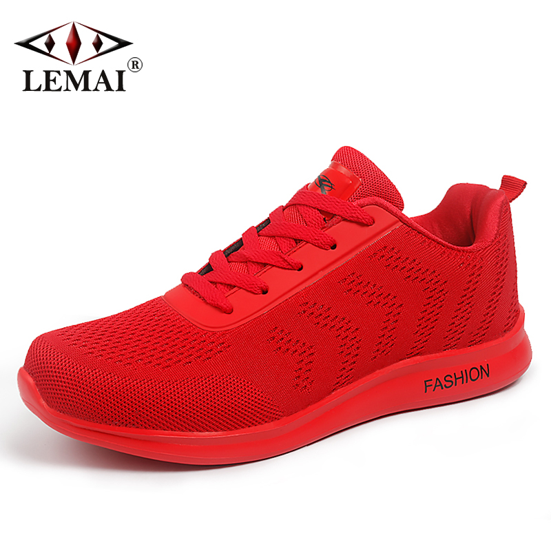 LEMAI Solid Style Men Running Shoes Autumn Breathable Air Mesh Boy Red Sneakers Male Outdoor Sport Light Black Trainers X821