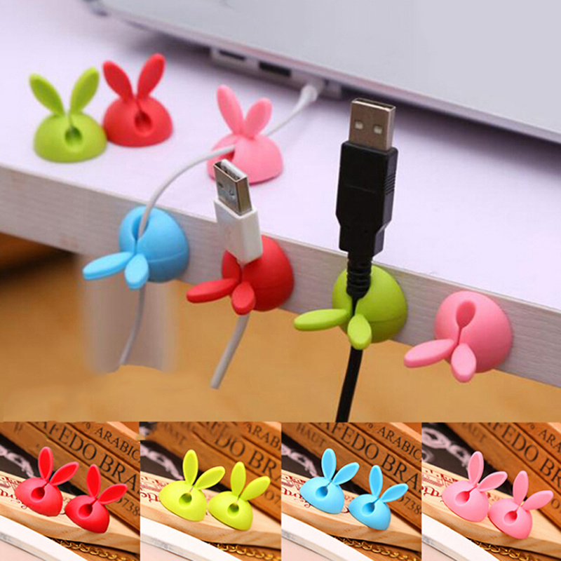 4pcs Cute Rabbit Ears Cable Winder Collation Holder Bunny Charger Wire Cord Organizer Clip Tidy Desk Earphone Fixer Bobbin Clamp Digital Cables