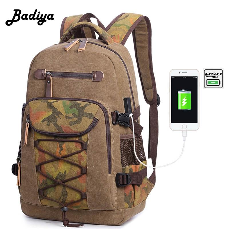 Canvas Backpack Men Multifunction USB charging Laptop Shoulder Bag Casual Camouflage Knapsack For Travel lowepro protactic 450 aw backpack rain professional slr for two cameras bag shoulder camera bag dslr 15 inch laptop