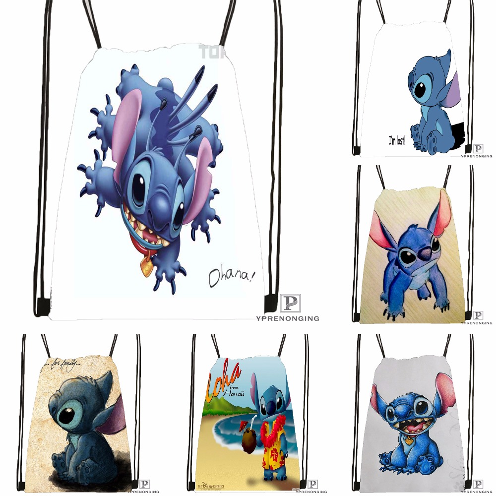 Custom Cartoon Lilo & Stitch Kiss Drawstring Backpack Bag Cute Daypack Kids Satchel (Black Back) 31x40cm#180531-02-03