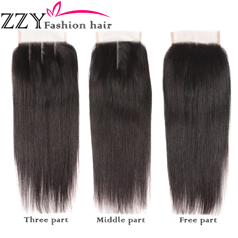 ZZY Fashion Hair Straight Hair Bundlar med Closure Peruvian Straight - Mänskligt hår (svart) - Foto 4