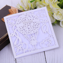 Eleva מתקפל סוג אוהבי רומנטית חתונה כרטיס הזמנה, לחתוך לייזר הזמנות לחתונה ICE לבן חתונה מדבקות קובע