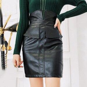 Image 3 - Ih Mulheres Lápis de Cintura Alta Saia De Couro PU 2019 Primavera de Moda de Nova Patchwork Moda Feminina Pacote Hip Fenda Mini Preto saia