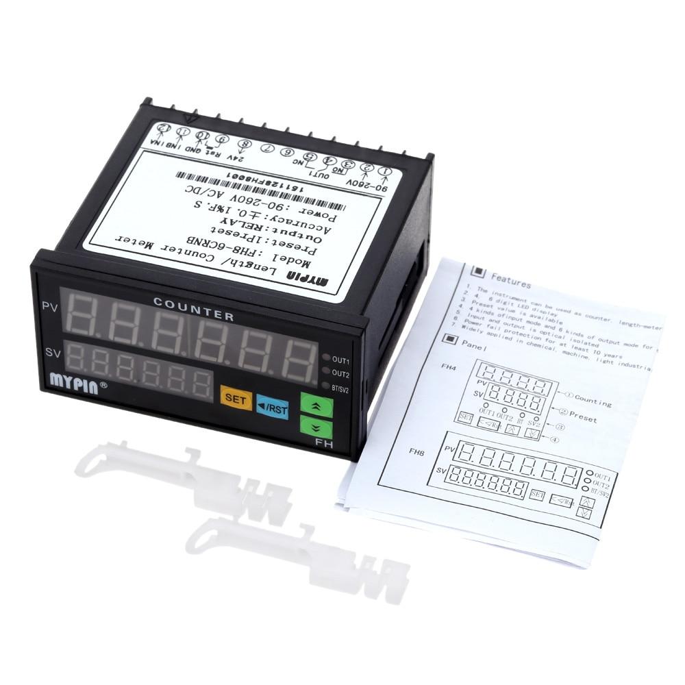 Compteur numérique Mini longueur lot mètre 1 préréglage relais sortie compteur pratique longueur mètre 90-260 V AC/DC