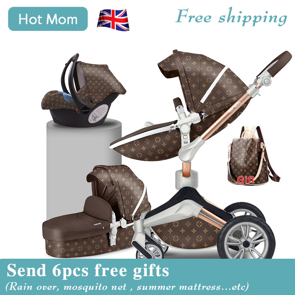 Fast Ship! HOTMOM 4 In 1 Baby Stroller Aluminum Alloy Frame European Luxury Baby Stroller Fashion Stroller With Mommy Bag Carts