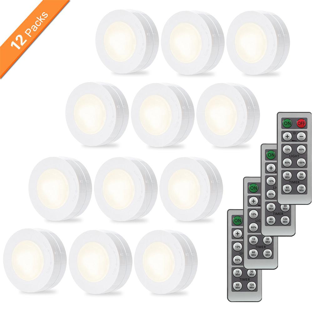 цена на 12pcs/set Wireless LED Puck Light Set with Dimmer and Timer Battery Powered Light with Remote Control for Kitchen Cabinet Closet