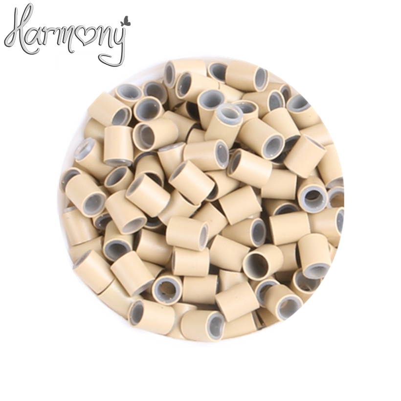 (1000pcs/lot) 3.4*3.0*4mm 6# Medium Blonde silicone copper tube micro silicone lined copper rings tube beads rings