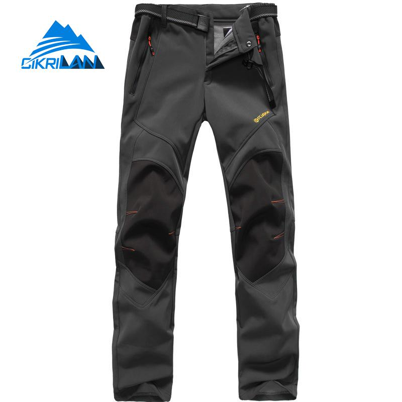 Fishing Trekking Fleece Lining Pantalon Homme Windstopper Softshell Outdoor Camping Climbing Hiking Pants Men Sports Trousers
