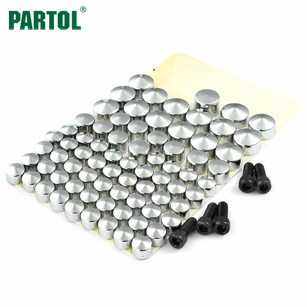 Partol 75pcs /set Motorcycle Motorbike Bolt Topper Caps Screw Covers for Harley Davidson FLT-FLH 2007 2008 2009 2010 2011 2012 aftermarket free shipping motor parts toppers caps for 2007 2008 2009 2010 2011 2012 harley davidson softail twin cam chrome