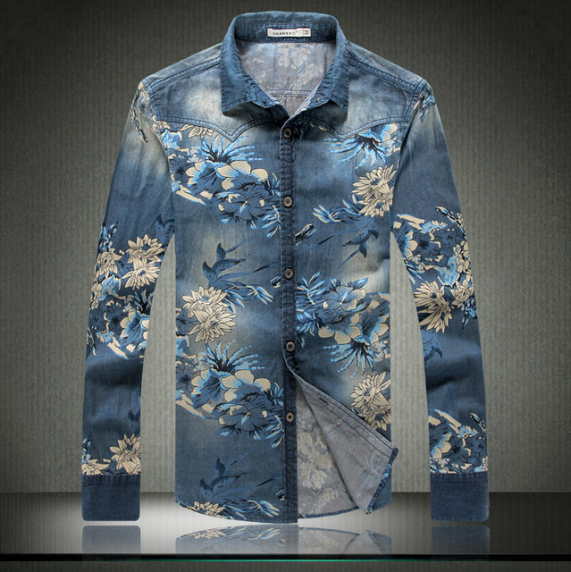 High Quality Mens Denim Floral Shirts Famous Brand Camisa Jeans ...