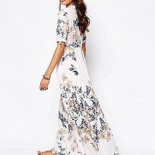 Women Plant Print Beach Maxi Dress Elegant Split White Stylish Floral Summer Travel Casual Big Swing A Line Long Dresses Female
