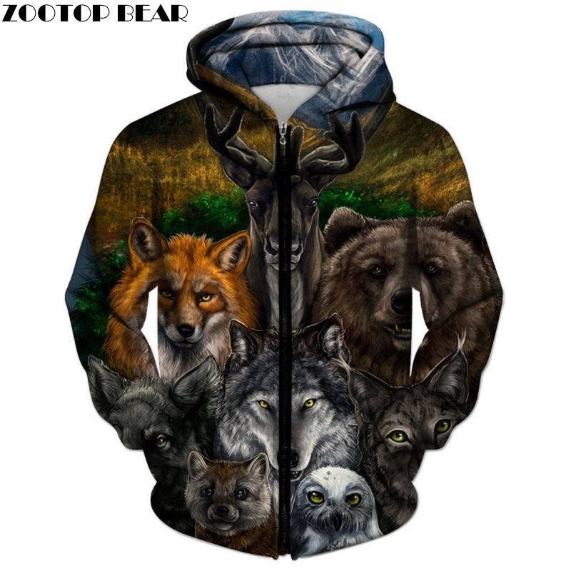 Animal Printed Zipper Hoodies Brand 3d Hoodies Men Unisex Sweatshirts Hot Sale 6XL Autumn Pullover Casual Tracksuits ZOOTOP BEAR