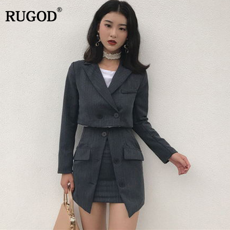 Ru 2018 Newest Office Lady Business Suits 2 Two Piece Set For Women Short Blazer Jacket And On Organ Mini Skirt