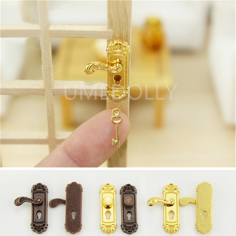 Clever 4 Teile/satz 1/12 Skalieren Vintage Dollhouse Miniature Türschloss Und Key Doll Haus Fee Tür Diy Zubehör QualitäT Zuerst Sammeln & Seltenes