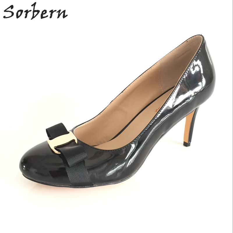692fd0122 Sorbern جولة تو ميد عالية الكعب المرأة مضخات أحذية النساء حجم 15 القوس  الديكور عالية ضئيلة كعب مضخات أسود الخناجر مثير الكعوب