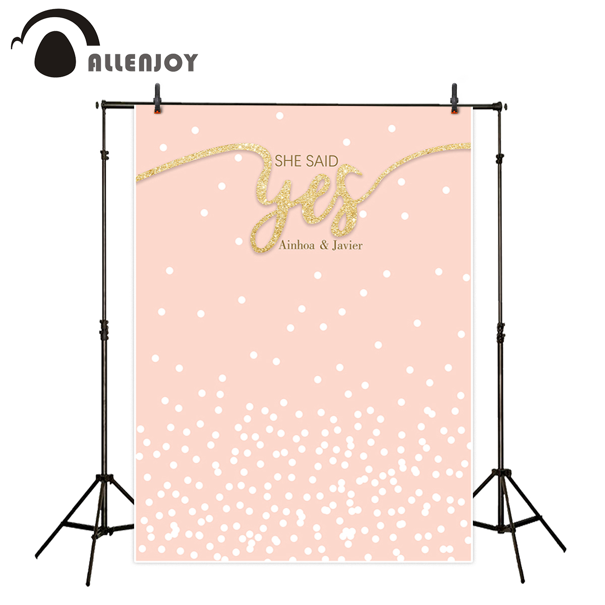 Allenjoy photography backdrop Pink spots cute golden romantic wedding new background photocall customize camera photo printed silver light светильник настенно потолочный silver light style next 804 40 7 nalxvo 1