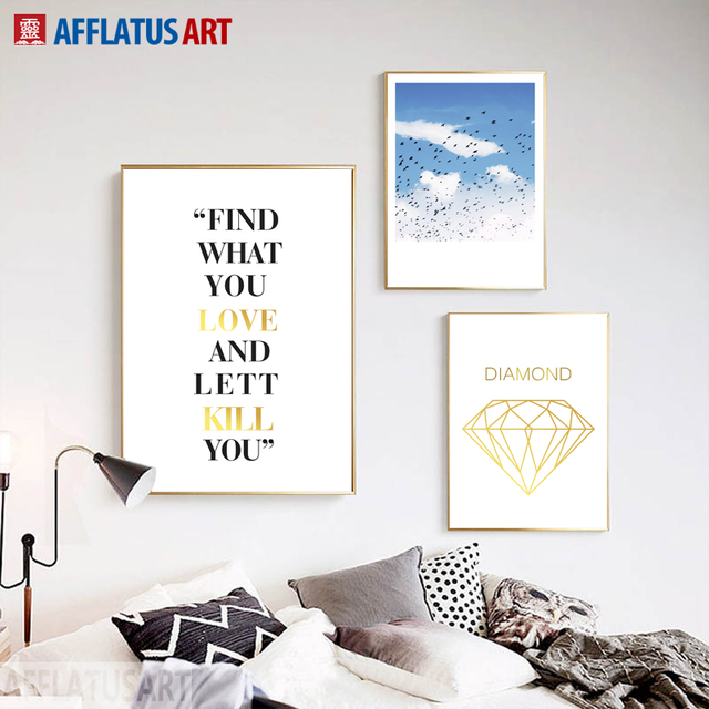 AFFLATUS Nordic Wall Art Posters And Prints Love Quotes Blue Sky Landscape  Canvas Painting Wall Pictures
