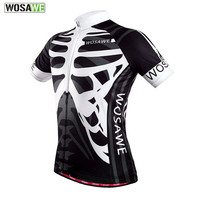 WOSAWE Quick Dry Cycling Jersey Outdoor Sports Bicicleta Jacket Bicycle Bike Skeleton Short Sleeve Shirt Ropa Ciclismo Clothing