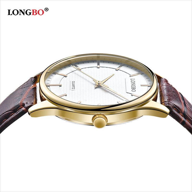 LONGBO Fashion Silver Couple Watches High Quality Ultra Thin Quartz Analog Wristwatch Men Leather Strap Clock Relogio Masculino
