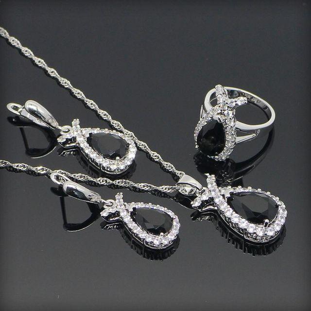 Súper Negro Creado Zafiro Blanco Topaz 925 Pendientes de Plata de La Joyería Para Las Mujeres/el Anillo/Pendiente/Collar Caja libre