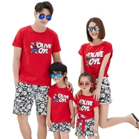 Family Matching Outfits Summer Cotton Red T Shirt Flower Pants 2Pieces One Set Dad Son Mom