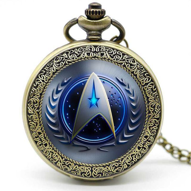 Bronze/Silver Mystery Star Trek Digital Quartz Pocket Watch Pendant Necklace Cha