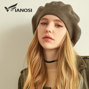 Image 2 - VIANOSI Wool Beret Female Winter Hats For Women Flat Cap Knit Cashmere Hats Lady Girl Berets Hat Female