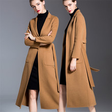 Lady 2018 Thick Warm Double Side Cashmere Woolen Coats Women Luxury Autumn Winter European Style Long Wool Coat V1021 yuoomuoo new women wool coat autumn winter medium long female cashmere coat european style ladies warm casual grey woolen coats