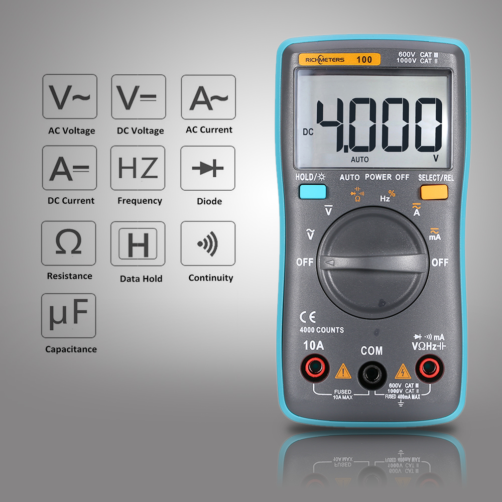 RM100 True RMS Digital Multimeter DMM DC AC Spannung Strom Widerstand Diode Continuity Kapazität Frequenz Duty Tester