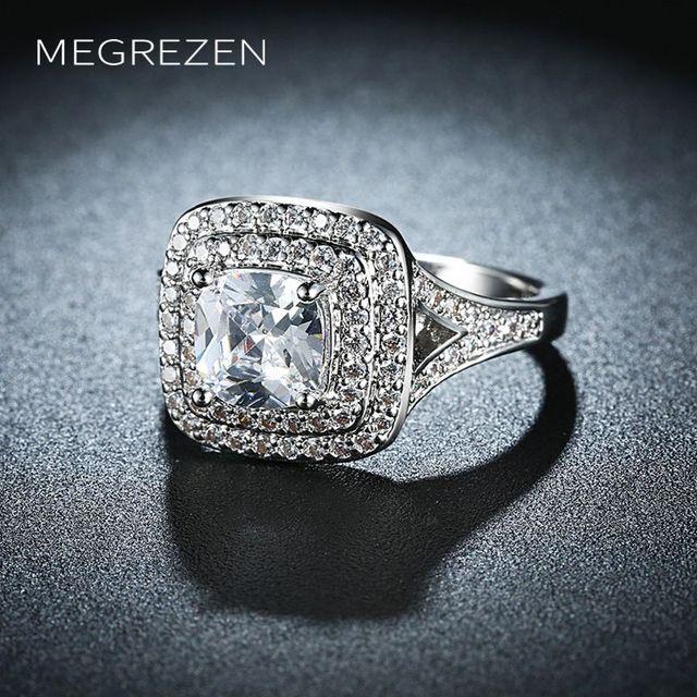 Megrezen Costume Jewelry Engagement Rings Whole For Women Silver Luxury Crystal Ring Bagues En Diamant Pour
