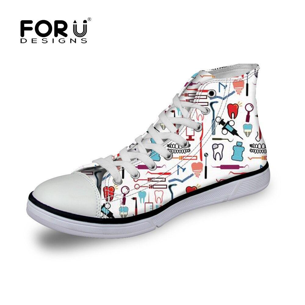 Ayakk.'ten Erkek Vulkanize Ayakkabı'de FORUDESIGNS Diş Diş Desen Erkekler Yüksek Top Kanvas hemşire ayakkabıları Marka Erkek Spor Ayakkabı Daireler vulkanize ayakkabı Genç Erkekler için Rahat title=
