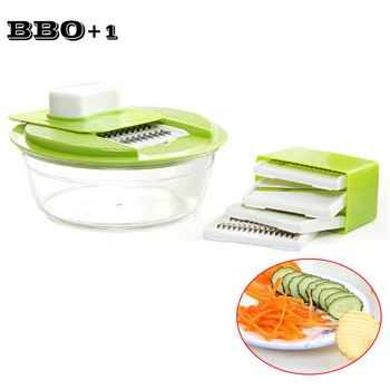 Multifunctional Manual Chopper Vegetable Grater Cutter with 5 Blades Stainless Steel Potato Carrot Slicer Kitchen Gadget Tools image